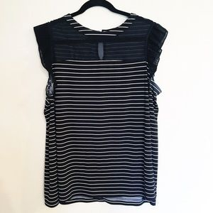 Worthington Striped Sheer Ruffle Tank 1x